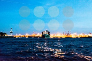 Abstract: Painting of a container ship leaving the harbor at night – photo processed with painting effect - franky242 photography