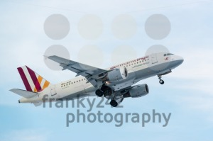 Airplane taking off on a cold winter day in Stuttgart, Germany - franky242 photography