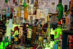 Alcoholic-beverages-in-bottles-at-a-bar.