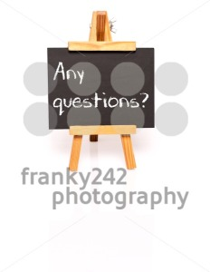 Any questions? Blackboard with text and easel. - franky242 photography