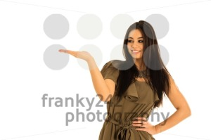 Attractive young woman looking at your product with great joy - franky242 photography