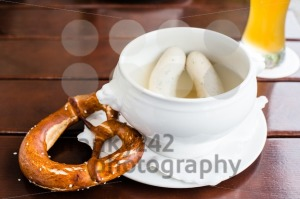 Bavarian Weisswurst, Pretzel and Beer - franky242 photography