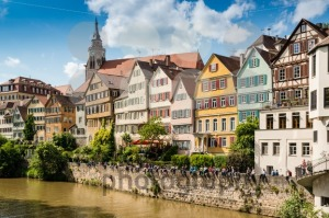 Beautiful old houses at the waterfront of Tubingen, Germany - franky242 photography