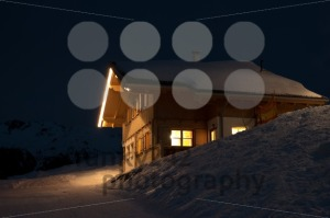 Beautiful skiing hut at  night - franky242 photography