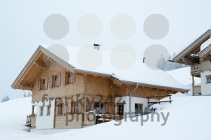 Beautiful skiing hut in deep snow - franky242 photography