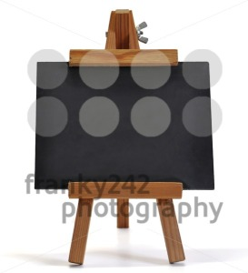 Blackboard with easel (for your text) on white - franky242 photography