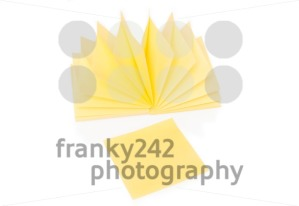Blank yellow sticky note and block on white - franky242 photography