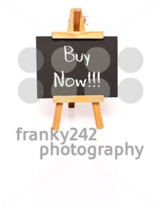 Buy Now. Blackboard with text and easel. - franky242 photography