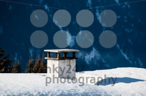 Chimney on snow covered roof - franky242 photography