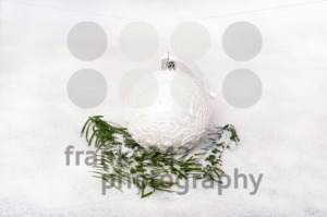 Christmas ball and fir branch with snow - franky242 photography