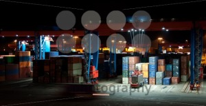 Commercial Container Port At Night - franky242 photography