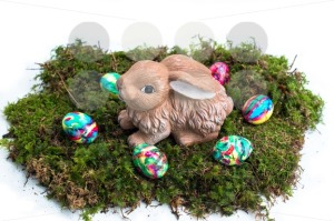 Easter Decoration: Painted Eggs and Rabbit on Moss - franky242 photography