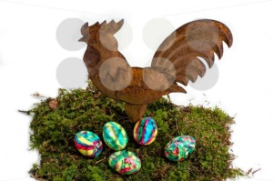 Easter Decoration: Painted Eggs and Rooster on Moss - franky242 photography