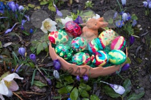 Easter basket amongst spring crocus flowers - franky242 photography