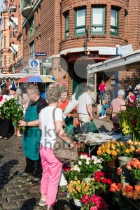 Florist at the old Fish Market by the harbor in Hamburg, Germany - franky242 photography