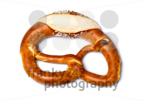 Fresh German pretzel  (Bretzel or Bretze) on white - franky242 photography
