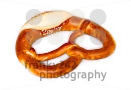 Fresh German pretzel  (Bretzel or Bretze) on white