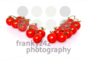 Fresh ripe cherry tomatoes on white background - franky242 photography