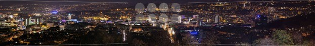Gigantic-Stuttgart-panorama-at-night-with-main-station-and-new-public-library