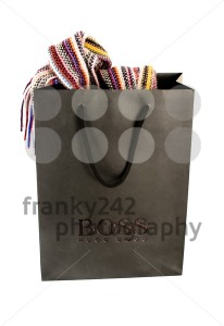 Hugo Boss Black Shopping Bag With Contents On White - franky242 photography
