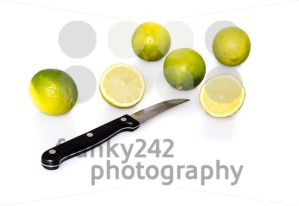 Knife and green fresh limes - franky242 photography