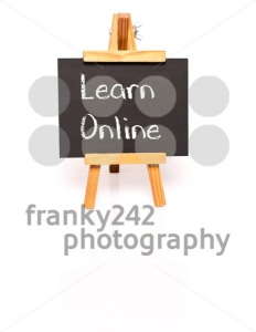Learn Online. Blackboard with text and easel. - franky242 photography