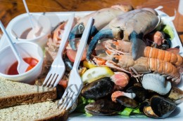 Mixed seafood plate and bread