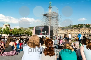 People enjoying open air cinema in the city center of Stuttgart (Germany) - franky242 photography