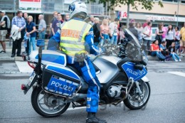 Police on motorbike during Christopher Street Day 2014 in Stuttgart