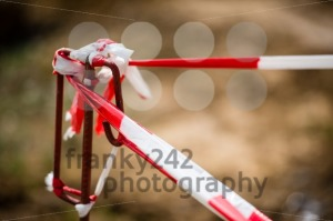 Red White Do Not Cross Warning Band - franky242 photography
