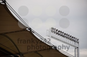 Roof construction of a soccer stadium with lights - franky242 photography