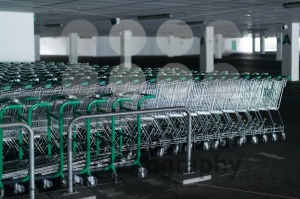 Rows of shopping carts in abandoned car park - franky242 photography