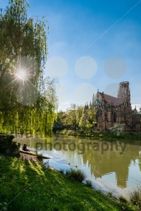 Saint Johns protestant church over the Fire lake in Stuttgart, Germany - franky242 photography