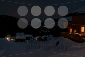 Ski village at night with city down the valley - franky242 photography