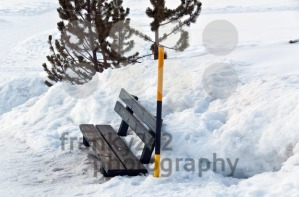 Snow covered bench and snow pole - franky242 photography