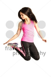Sportive young woman jumping isolated on white background - franky242 photography