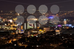 Stuttgart panorama at night with main station - franky242 photography