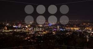 Stuttgart-panorama-at-night-with-main-station-and-new-public-library