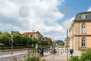 The city center of Stuttgart with the old (left) and new castle (right) and the new art museum in the middle - franky242 photography