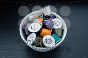 Used coffe capsules in a bowl - franky242 photography