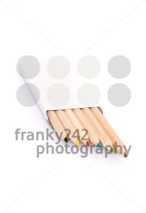 Various color pencils in box on white background - franky242 photography