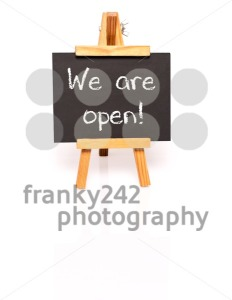 We are open. Blackboard with text and easel. - franky242 photography