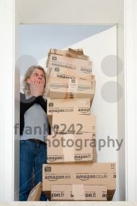 Woman being shocked by Amazon.com delivery - franky242 photography
