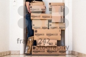 Woman receiving extensive Amazon.com delivery - franky242 photography