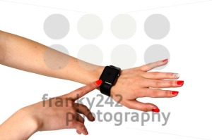 Woman touching her Apple Watch - franky242 photography