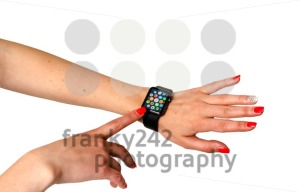 Woman touching icons on the Apple Watch - franky242 photography