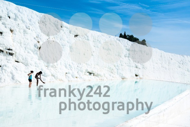 Young women in a travertine pool in Pamukkale, Turkey - franky242 photography