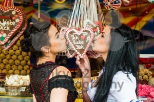 Young women with gingerbread hearts on Oktoberfest - franky242 photography