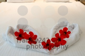 heart made from towels on honeymoon bed - franky242 photography