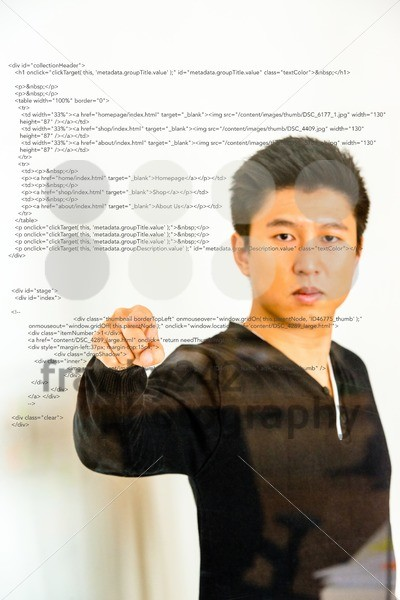 pointing towards sourcecode projected on glass - franky242 photography